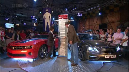 Chevrolet Camaro Ss срещу Mercedes E63 Amg и Стиг около пистата на Top Gear