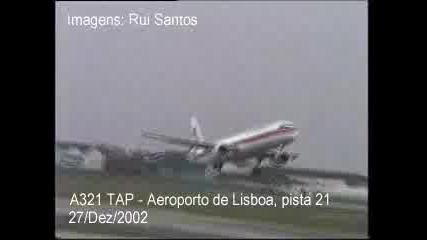 Самолет А - 321 в опит да кацне при силен вятър!!!