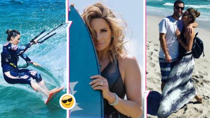 Солена романтика насред зима: Саня Жекова и любимият мъж покараха сърф на края на света!