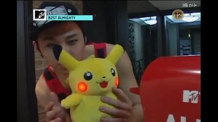 Junhyung and Pikachu. //