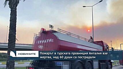Пожарът в турската провинция Анталия взе жертва, над 60 души са пострадали