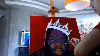 Надя рисува Notorious B.i.g. поп арт портрет