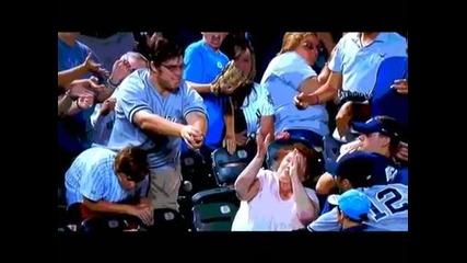 Бейзболна топка удря жена в лицето -
