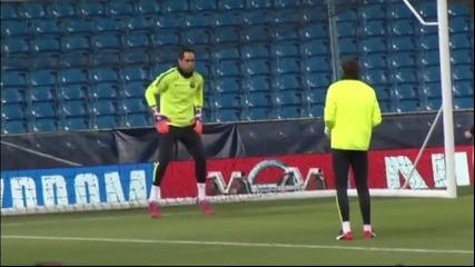 Барселона тренира в Манчестър