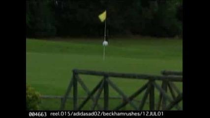 David Beckham играе голф с футболна топка