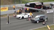 Audi R8 V10 Spyder vs Vw Golf 2 R32 Turbo