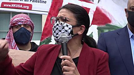 USA: Rep Rashida Tlaib joins pro-Palestine protest outside State Dep