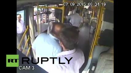 Turkey: Plain clothes cop's violent attack on bus driver captured on CCTV