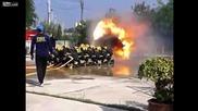 Пожарникари се изгарят по време на тренировка