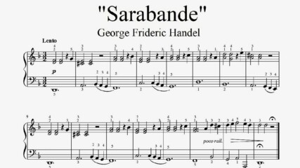 """George Frideric Handel - Sarabande"" - Piano sheet music (by Tatiana Hyusein)"