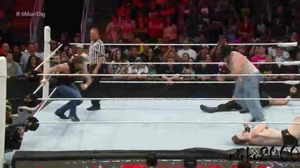 Roman Reigns,dean Ambrose & Randy Orton vs Bray Wyatt,luke Harper & Sheamus:raw 03 08 2015