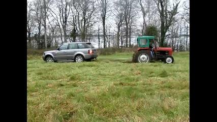 Tractor Pull - off - - Rangerover Sport Vs Massey Tractor