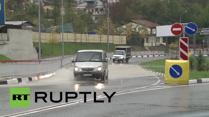 Russia: Heavy rain causes flash flooding in Olympic city of Sochi