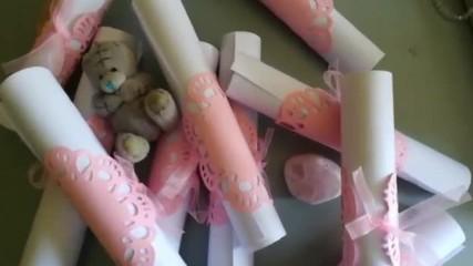 Сватбени покани свитък в розово от Pokanilux.com