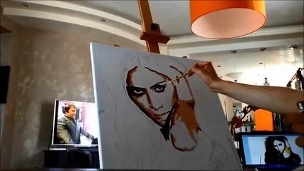 Надя рисува Nicole Scherzinger поп арт портрет