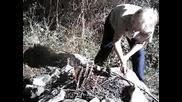 Пикник Сред Природата В Слънчев Есенен Ден С Огън И Кучето С Нас