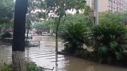 China: Streets semi-submerged after typhoon floods streets in Ningbo