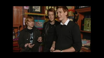 Rupert Grint, James Phelps, and Oliver Phelps Try Out Harry Potter Spells