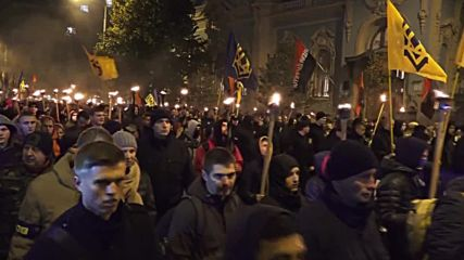 Ukraine: Thousands of nationalists mark founding of UPA with torch-lit vigil