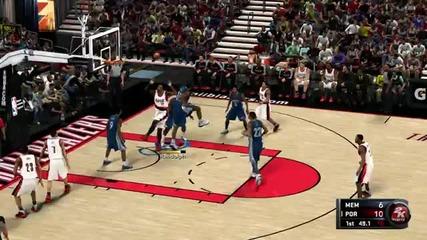 Nba 2k11 Gameplay Video Memphis Grizzlies vs. Portland Trail Blazers (360p)