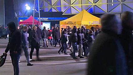 Sweden: Football fans arrive at Stockholm stadium ahead of Russia decider