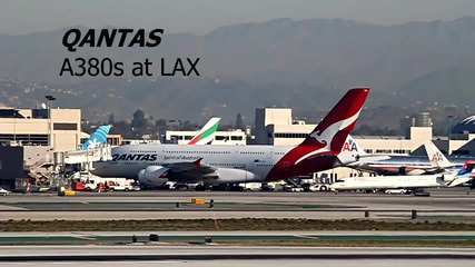 Qantas Airbus A380 излита и каца в Лос Анджелес
