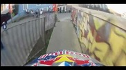 Extreme downhill Mtb Pov in the streets of Valparaiso