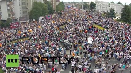 Македония: Дрон заснема огромен антиправителствен протест в Скопие