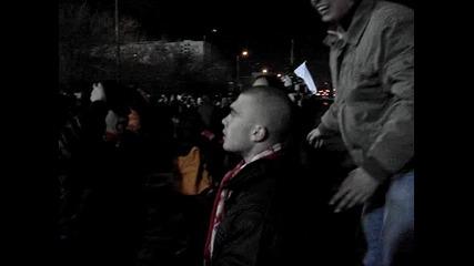 левски - Цска (26.02.2011) , радостта на армейците след втория гол на Платини