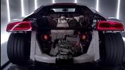 Audi R8 V10 plus на изпитателен стенд ,развиване на моментна тяга