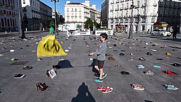 Spain: 'Extinction Rebellion' protest covers Madrid square in over 1,000 shoes