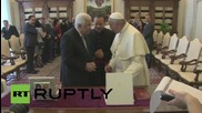 Vatican City: Pope Francis welcomes Mahmoud Abbas to Vatican