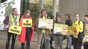 UK: Lancashire anti-fracking protesters rally outside Shale gas conference