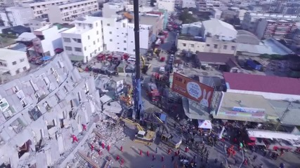 Taiwan: Drone shows search and rescue op in Tainan after deadly quake
