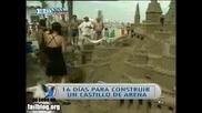 Репортерка разваля огромен пясъчен замък