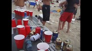 Beer Pong on the Beach