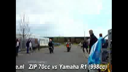 Piaggio Zip 70cc Tuning Vs Yamaha R1 998cc