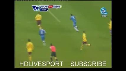 ( Фантастичен гол на Аршавин в 39 минута) Wigan - Arsenal 1 - 1
