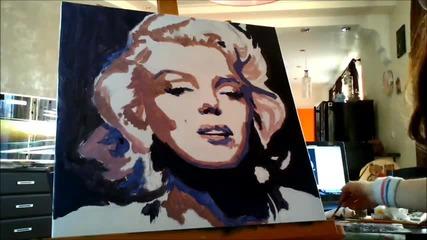 Надя рисува Мерилин Монро поп арт портрет