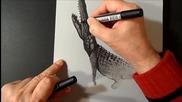 3d Рисуване на крокодил