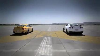 2013 Nissan Gtr vs 2011 Porsche 911 Turbo S Drag Race(gtr killer)