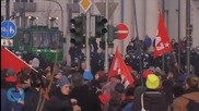 Protesters Clash With Police Near New European Bank HQ in Frankfurt