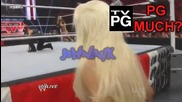 Eve shaking her ass and Kelly Kelly mimicking Maryse's pose Wwe Raw 7_25_11