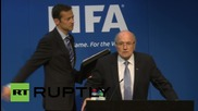 Switzerland: FIFA's Blatter showered in fake money at press conference