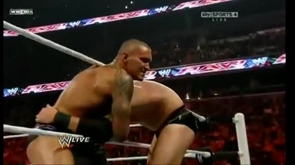 Randy Orton Rko against Wade Barret, Darren Young, Edge & Sheamus!