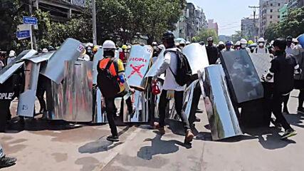 Myanmar: Tear gas flies as Yangon anti-coup protests intensify