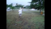 Retarded Guy Running In The Rain