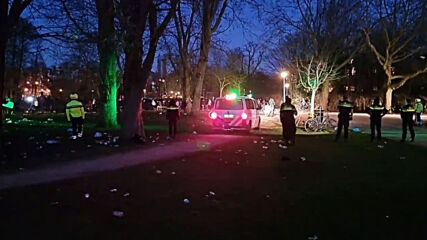 Netherlands: Police disperse crowds in Amsterdam park