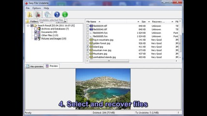 Recovery deleted files using Easy File Undelete