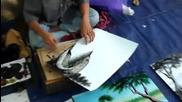 Уличен талант рисува удивително красиво